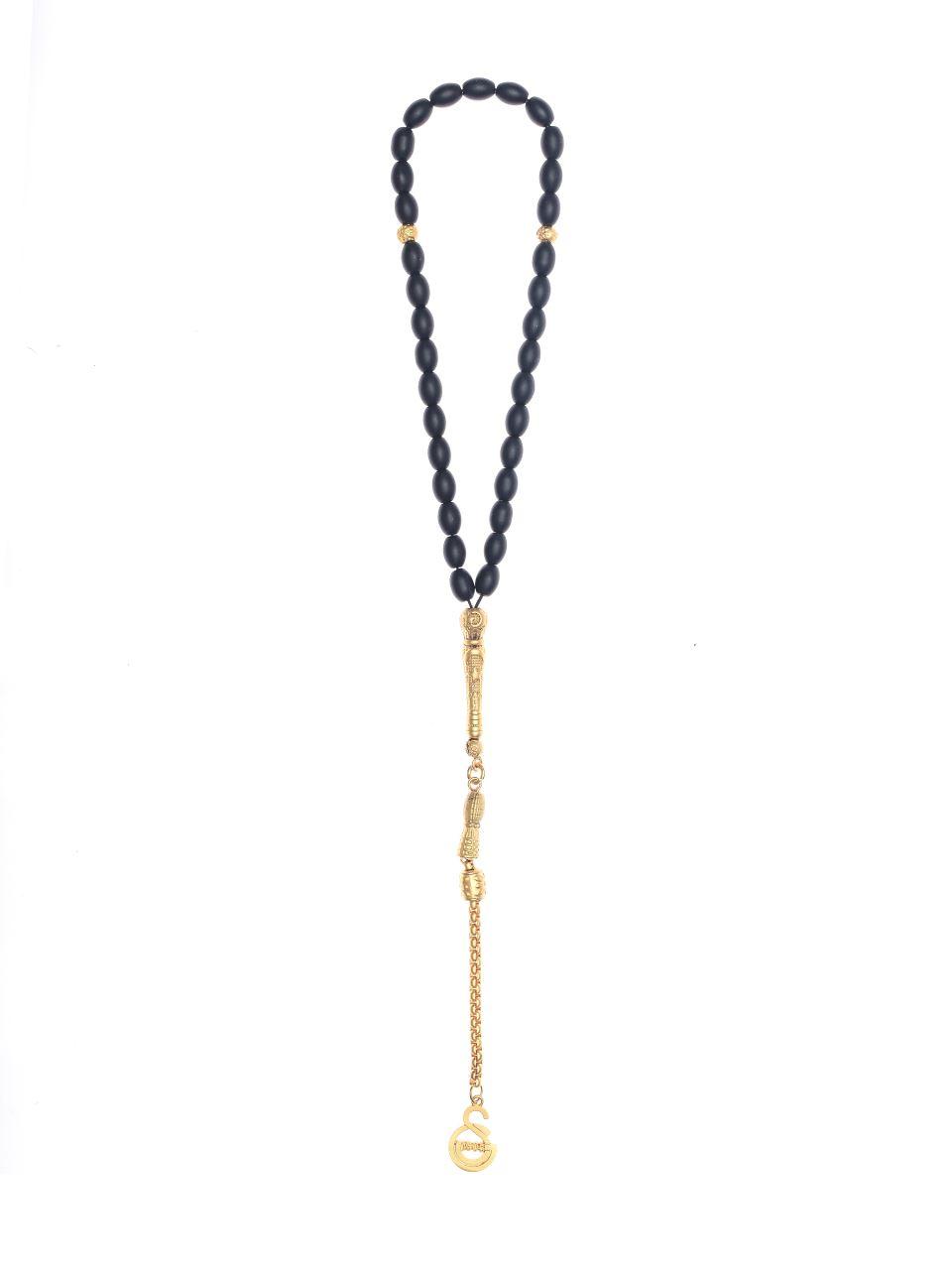 İthal Onix Taş Mat Altın Kaplama Logo Tesbih U85290