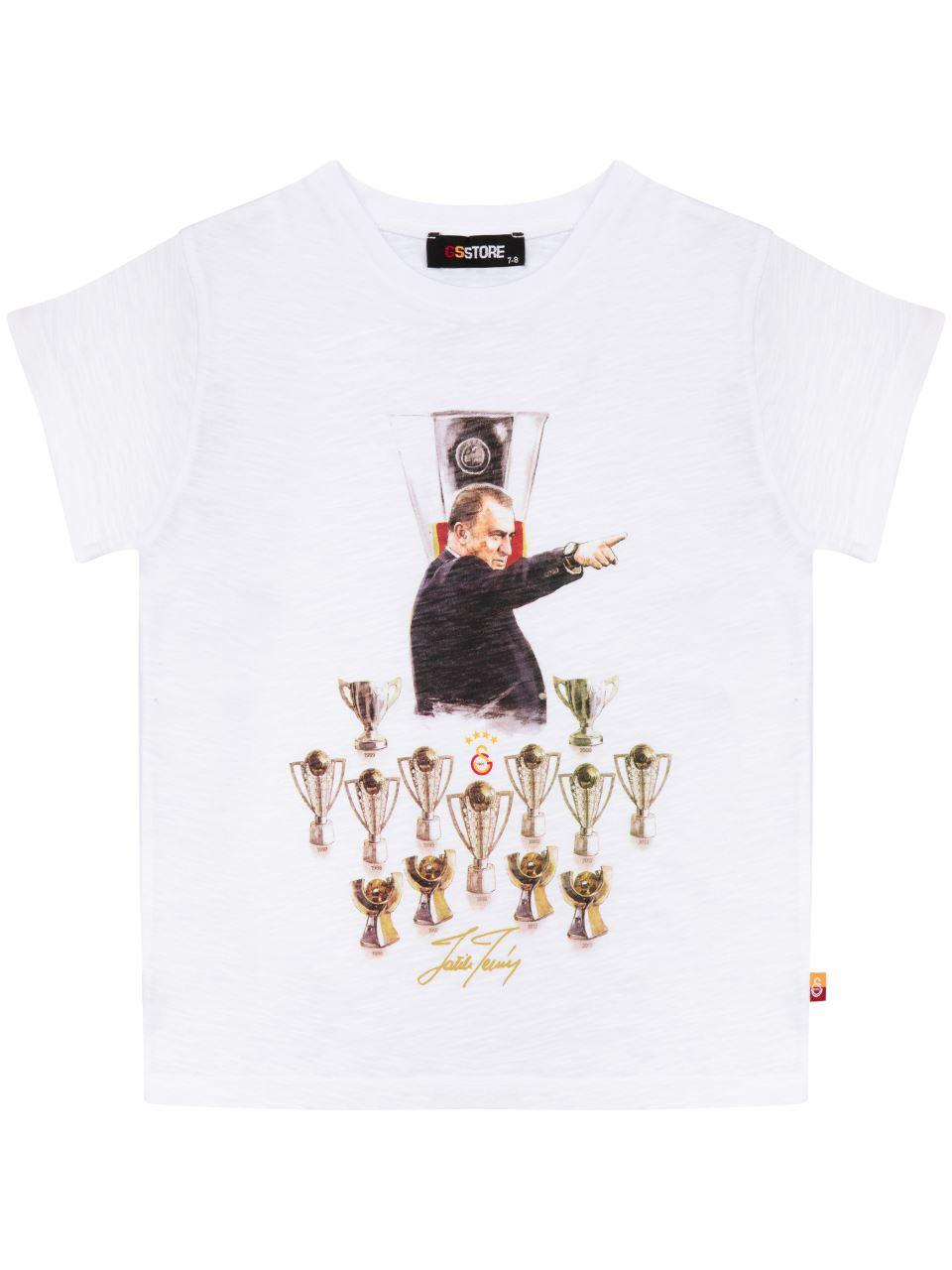 C90198 Fatih Terim Ve Kupalar T-shirt
